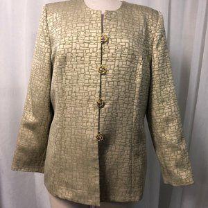 Moshita Couture Women's Blazer Green Gold